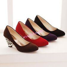 Ladies Women Faux Suede Slip On Loafers Mid Wedges Heels Shoes Wedding Pumps New