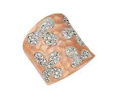 FLOWER BAND RING WITH CUBIC ZIRCONIA 14K ROSE GOLD PLATED STERLING SILVER