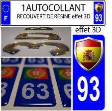 1 pegatina matrícula de coche TUNING 3D RESINA ESCUDO ESPAÑA DEPARTAMENTO 93