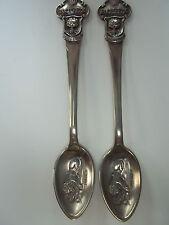 2 Antique Silver  Rolex Lucerne Souvenir Spoons - Excellent