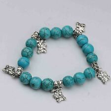 100% Natural Turquoise & Tibet Silver Handwork Chinese Zodiac Bracelet -- rabbit