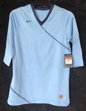 Girls L 14-16 NIKE DRI FIT Light Blue 3/4 Sleeve Athletic Running Shirt V Neck