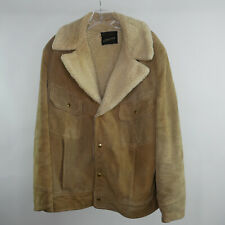 VTG Distressed JC Pennys Sz 42 Leather Coat Sherpa Liner Malboro Man Jacket