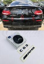 MERCEDES-BENZ C-Classe C63 AMG véritable noir brillant 3 Pièces Badge Set AMG 3DR 15+