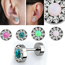 Illusion Silver Plugs Crystal Studded Rim Synthetic Opal Center Studs Earrings