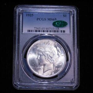 1925 P Peace Dollar PCGS MS65 CAC Blast White Superb Frosty Luster, PPQ #G876
