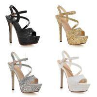 Women's Stilettos High Heels Platform Open Toes Glitter Shoes Slingbacks Sandals