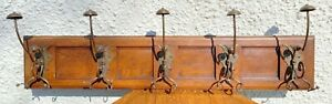 Steel Arts And Crafts Superb Coat Hat Hooks Oak Guild Liberty Stand