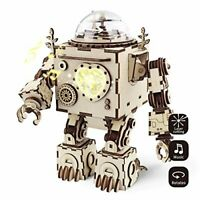 ROBOTIME Robot Music Box Kit Building - Laser Cut Wooden 3D Jigsaw Puzzles