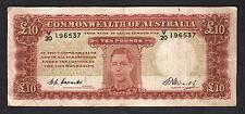 Australia R-60. (1949) 10 Pounds - Coombs/Watt... George VI Portrait...  Fine+