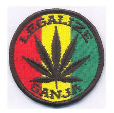 Legalize Ganja  - PATCH - 7x7cm - PARCHE - Hook & Loop backing - RASTA