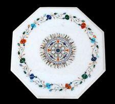 "12"" Marble Inlay Table Handmade PietraDura Floral Art Home Furniture"