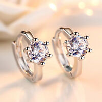 Women's 925 Sterling Silver Inlay Zircon Hoop Huggie Earrings Fashion Jewelry