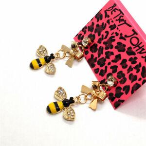 Hot Yellow Cute Flower Bee Bow Crystal Betsey Johnson Women Stand Earrings