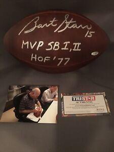 Bart Starr Signed Autographed Official NFL Duke Football Packers SB MVP HOF 77