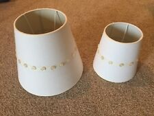 Euc Pottery Barn Kids Neutral Nursery Floor & Table Lamp Shades Button Detail