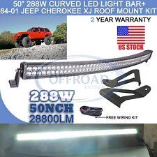 "84-01 Jeep Cherokee XJ 50"" 288W Cree Curved LED Light Bar +Mounting Roof Bracket"