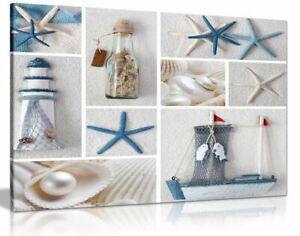 Blue Sand Beach Sea Shells Bathroom Canvas Wall Art Picture Print