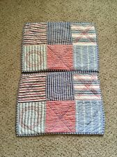 2 The Land of Nod Patchwork Quilted Standard Sham 20 X 26 Red White Blue Plaid