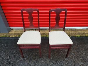 Meco STAKMORE Queen Anne Folding Chair Cherry Finish, Set of 2