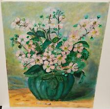 """NANCY BUTLER """"BLACKBERRY BLOSSOMS IN GREEN VASE"""" ACRYLIC ON BOARD PAINTING"""