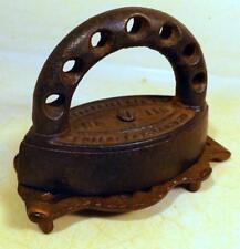 Small Unusual 4-inch Antique Enterprise Sad Iron #115 w Trivet Pat 1877