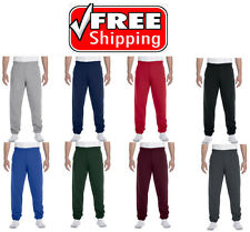 Men's Fleece Elastic Bottom Workout Gym Pants Plain Sweatpants With Pockets
