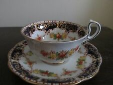 Royal Standard England Tea Cup And Saucer Hand Painted Cobalt Blue Flowers
