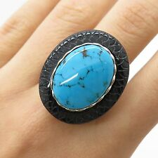 925 Sterling Silver Large Real Black Onyx Turquoise Gemstone Ring Size 8
