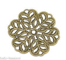 500 Hello Hot Bronze Tone Flower Wraps Connectors 29x29mm