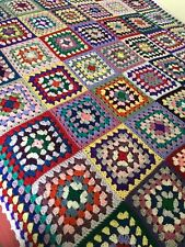 New Handmade Large Vintage Style Crocheted Granny Blanket 70 Inches Squared