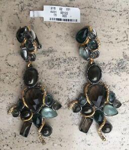 $455 Alexis Bittar Crystal & Pyrite Rocky Ear Cuff Phoenix Cluster Clip Earrings