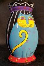 """New listing Laurel Burch for Ganz - Black Striped Cat Vase #Bc8025 Hand Painted & Signed 6""""T"""