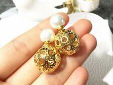 New White Pearl Gold Stud Earrings