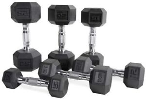CAP Barbell Rubber Coated Hex Dumbbell with Contoured Chrome Handle BRAND NEW