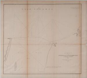 """1853 Little Sodus Bay US coast Survey map Cayuga New York 19""""x 15"""" Nautical"""