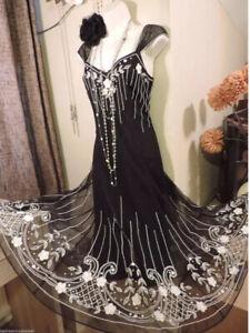 WALLIS Vintage ❤️1920's Art Deco Beaded Flapper Gatsby Downton Dress 12 Petite