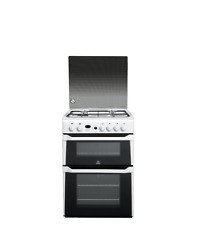Indesit ID60G2W 60cm Gas Double Oven in White with Glass Lid