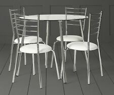 NEW Tesco Glass Table and 4 Chair Set - (White & Silver)