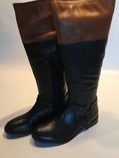 Carvela Black/Tan Leather Riding Boots Size 5 New In Box