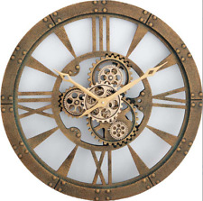 Large Wall Clock Antique Retro Gold Roman Numeral Rotating Gears Cogs Round 60cm