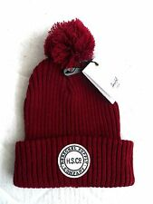 HERSCHEL SUPPLY CO. Burgundy Ribbed Cuff BOBBLE BEANIE HAT UNISEX Canada Pompom