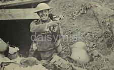 British Army Soldier Pet Magpie German Trench World War 1 7x4 Inch Reprint Photo