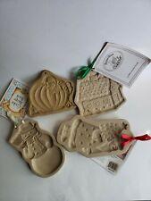 Lot of 4 Different Brown Bag Cookie Art Molds Pumpkin Snowman, Santa claus House