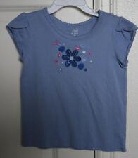 Blue Childrens Place Shirt 4T Toddler Girl Cotton Floral Applique  EUC