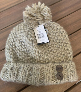 New- Dakine Fawn Maddy Beanie- Women's. Beige W/ Buttons. And A Pom. Cable Knit