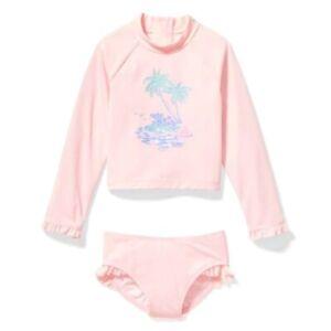 Janie And Jack Pink Tropical Rash Guard Two Piece Swim Suit Sz. 4 NWT