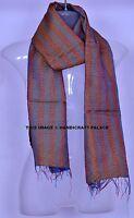 Patchwork Vintage Dupatta Long Scarf Silk Saffron Hijab Kantha Stole Reversible