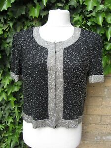 Stenay Vintage Ladies Heavily Beaded Black Silk Jacket/Shirt Size XL