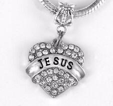 Jesus  Charm  Fits European style Bracelet  Believer Crystal Heart